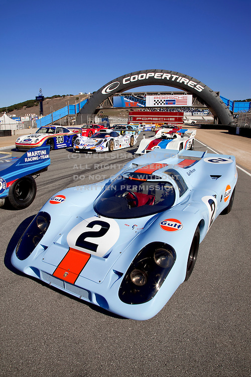 Group image of porsche race cars at the Rennsport Reunion IV, Laguna Seca, California, America west coast