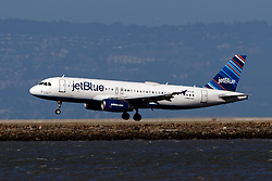 Airbus A320-232 (N597JB) operated by JetBlue Airways landing at San Francisco International Airport (KSFO), San Francisco, California, United States of America