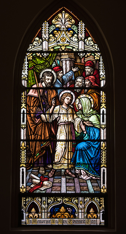Stained glass window at St. Mary Church in Bear Creek, Wis., depicts Mary finding her young son Jesus at the temple. (Sam Lucero photo)