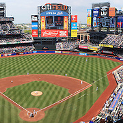 A panoramic view of Citi Field during the New York Mets V San Francisco Giants Baseball game at Citi Field, Queens, New York. 21st April 2012. Photo Tim Clayton.Note to Editors: This image is a composite of two images taken a split second apart and merged in editing.