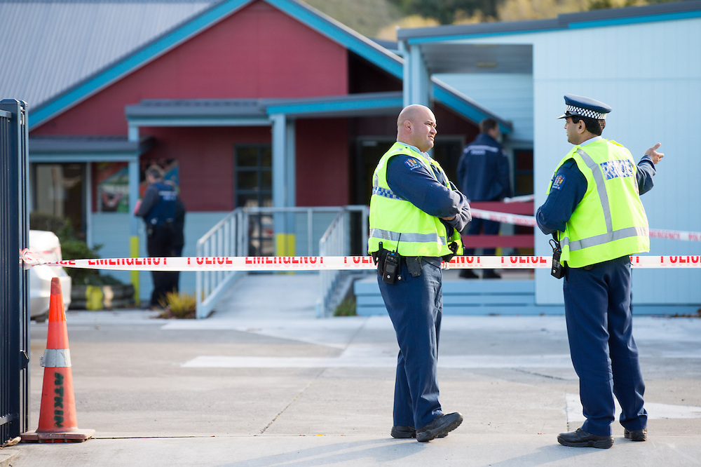 Police cordon the scene after an incident at Taradale Primary School, Napier, New Zealand, , May 25, 2015. Credit: SNPA / John Cowpland