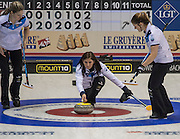 "Glasgow. SCOTLAND. Scotland's  ""Skip""  Eve MUIRHEAD, guides  the ""Stone"" towards  the ""Hog Line"" during the Le Gruyère European Curling Championships. 2016 Venue, Braehead  Scotland<br /> Sunday  20/11/2016<br /> <br /> [Mandatory Credit; Peter Spurrier/Intersport-images]"
