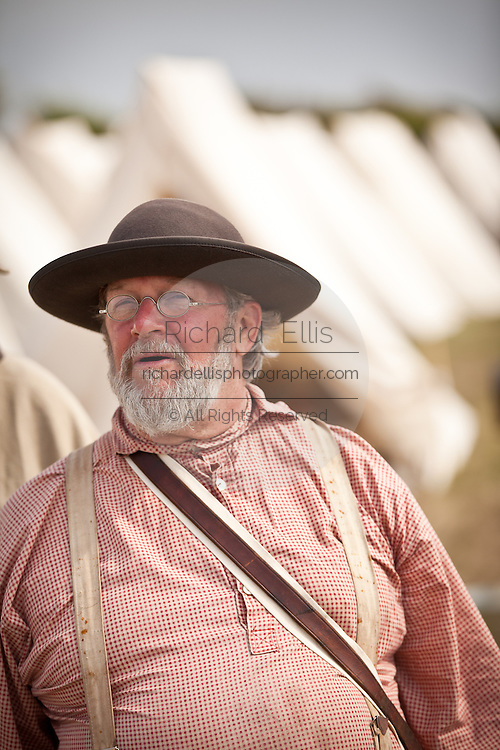 Confederate re-enactor in camp during a living history event at Fort Moultrie Charleston, SC. The re-enactors are part of the 150th commemoration of the US Civil War.