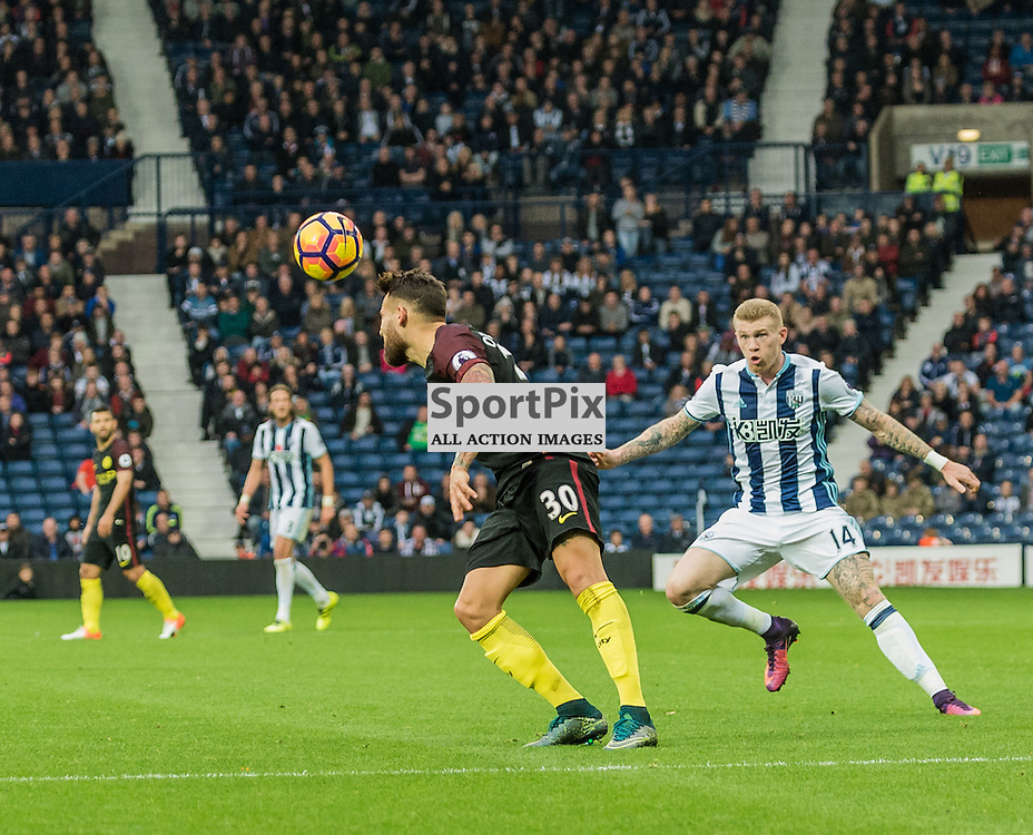 Manchester City defender Nicolas Otamendi (30) wins a header in the Premier League match between West Bromwich Albion and Manchester City <br /> <br /> (c) John Baguley | SportPix.org.uk