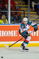 KELOWNA, CANADA - DECEMBER 29:  Libor Zabransky #7 of the Kelowna Rockets passes the puck against the Kamloops Blazers on December 29, 2018 at Prospera Place in Kelowna, British Columbia, Canada.  (Photo by Marissa Baecker/Shoot the Breeze)