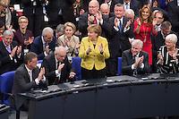 12 FEB 2017, BERLIN/GERMANY:<br /> Michael Grosse-Broemer, CDU, 1. Parl. Geschaeftsfuehrer CDU/CSU Faktion, Volker Kauder, CDU, CDU/CSU Fraktionsvorsitzender, Angela Merkel, CDU, Bundeskanzlerin, Horst Seehofer, CSU, Ministerpraesident Bayern, Gerda Hasselfeldt, CSU, Vorsitzende der CSU Landesgruppe im Bundestag,(1. Reihe v.L.n.R.), applaudieren nach der Bekanntgabe des Wahlergebnisses bei der Wahl zum Bundespraesidenten, 16. Bundesversammlung zur Wahl des Bundespraesidenten, Reichstagsgebaeude, Deutscher Bundestag<br /> IMAGE: 20170212-02-119<br /> KEYWORDS: Bundespraesidentenwahl, Bundespr&auml;sidetenwahl, Applaus, applaudieren, klatschen, Michael Grosse-Br&ouml;mer
