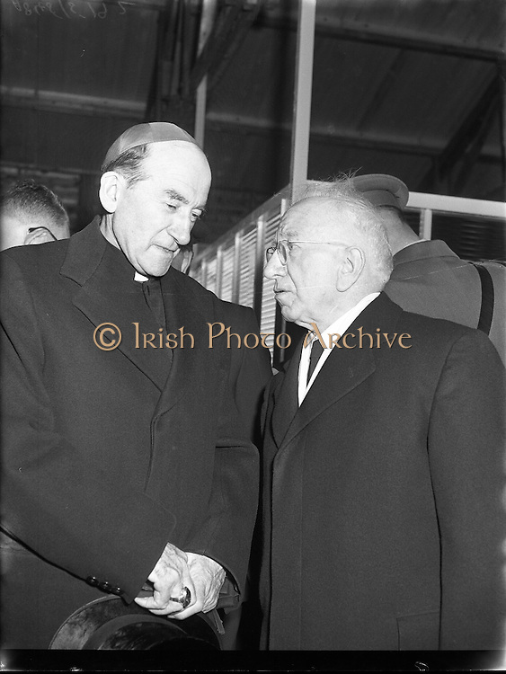Cardinal Dalton departs for Rome for the funeral of Pope Pius XII .16/10/1958