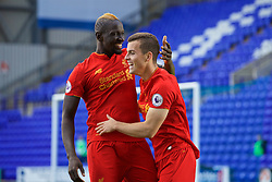 BIRKENHEAD, ENGLAND - Sunday, October 23, 2016: Liverpool's Brooks Lennon celebrates scoring the first goal against Everton with team-mate Mamadou Sakho during the Mini-Derby FA Premier League 2 Under-23 match at Prenton Park. (Pic by David Rawcliffe/Propaganda)