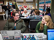 19 DECEMBER 2019 - URBANDALE, IOWA: Volunteers at Sen. Cory Booker's campaign headquarters in Urbandale, a suburb of Des Moines. Sen. Booker, who did not qualify for the December 19 debate in Los Angeles, campaigned in the Des Moines area Thursday and visited the phone bank at his Iowa campaign headquarters.               PHOTO BY JACK KURTZ