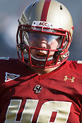November 20, 2010; Chestnut Hill, MA, USA;  Boston College Eagles linebacker Steele Divitto (49) warms up before the game against the Virginia Cavaliers at Alumni Stadium.  Boston College defeated Virginia 17-13.