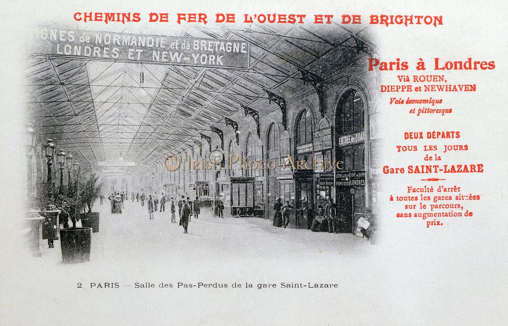 Gare Saint-Lazare, Paris, France, French Railway of the West and of Brighton, destination of the London-Paris boa train. Postcard c1900. Transport Rail Marine International England France.