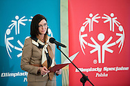 Sport's Minister Joanna Mucha with athletes of Special Olympics attend a meeting in Presidential Palace in Warsaw on February 26, 2013..The mission of Special Olympics is to provide sports training and athletic competition for children and adults with intellectual disabilities...Poland, Warsaw, February 26, 2013..Picture also available in RAW (NEF) or TIFF format on special request...For editorial use only. Any commercial or promotional use requires permission...Photo by © Adam Nurkiewicz / Mediasport
