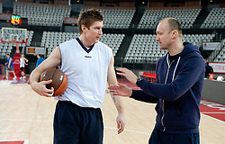 Vladimer Boisa and head coach Jure Zdovc during practice session of basketball club KK Union Olimpija day before Euroleague Top 16 Round Match vs Lottomatica Roma, on January 19, 2011 in Arena PalaLottomatica, Rome, Italy. (Photo By Vid Ponikvar / Sportida.com)