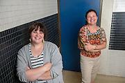 Graduate student Jennifer Seifert (Right) and undergraduate Kaytlin Dawes developed an app: Feminist App-tivism: AffectiveLearningand Feminist Pedagogy in the Women's Gender and Sexuality Studies Classroom. Photo by Ben Siegel/ © Ohio University