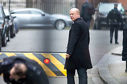 © Licensed to London News Pictures. 09/01/2018. London, UK. Transport Secretary Chris Grayling arriving in Downing Street to attend a Cabinet meeting this morning. Yesterday British Prime Minister Theresa May reshuffled her cabinet, appointing some new ministers. Photo credit : Tom Nicholson/LNP