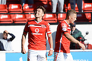 Tom Bradshaw celebrates second goal during the Sky Bet League 1 match between Walsall and Doncaster Rovers at the Banks's Stadium, Walsall, England on 12 September 2015. Photo by Alan Franklin.