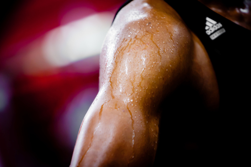 MIAMI, FL -- January 29, 2012 -- Miami's James Jones trickles with sweat as he works out in the gym in the locker room after the Heat's 97-93 win over the Chicago Bulls at American Airlines Arena in Miami, Fla., on Sunday, January 29, 2012.  (Chip Litherland for ESPN the Magazine)