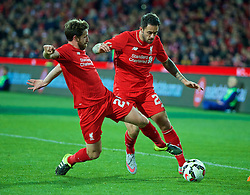 ADELAIDE, AUSTRALIA - Monday, July 20, 2015: Liverpool's Joe Allen and Danny Ings in action against Adelaide United during a preseason friendly match at the Adelaide Oval on day eight of the club's preseason tour. (Pic by David Rawcliffe/Propaganda)