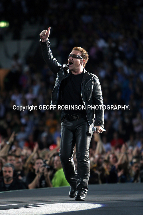 BONO OF U2 PLAYING LIVE  IN AUGUST 2010..