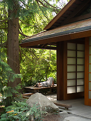 United States, Washington, Bellevue, small traditional house at Bellevue Botanical Garden