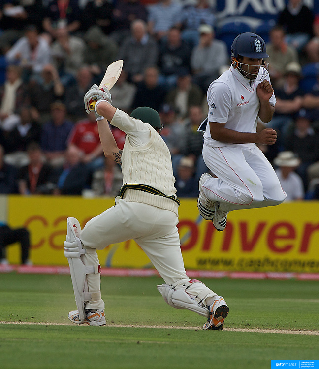 Michael Clarke batting as Ravinder Bopara takes evasive action during the England V Australia  Ashes Test series at Cardiff, Wales, on Friday, July 10, 2009. Photo Tim Clayton.