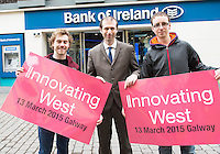 Repro free. Dominick Whelan, Sanaer and StartX6 with John Breslin, NUIG and Innovating West, and Colin O Halloran sanaer/startx6 at the Sponsors launch of Innovating West which takes place in the Lifecourse Institute at NUIG .<br />  Innovating West, a one-day summit in Galway that will bring together innovators, creators, entrepreneurs and leaders to discuss how great teams and innovation ecosystems can be built in the West of Ireland. Photo:Andrew Downes
