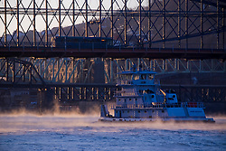 A barge on the Monogahela River near the Smithfield Street Bridge in Pittsburgh, Pa.