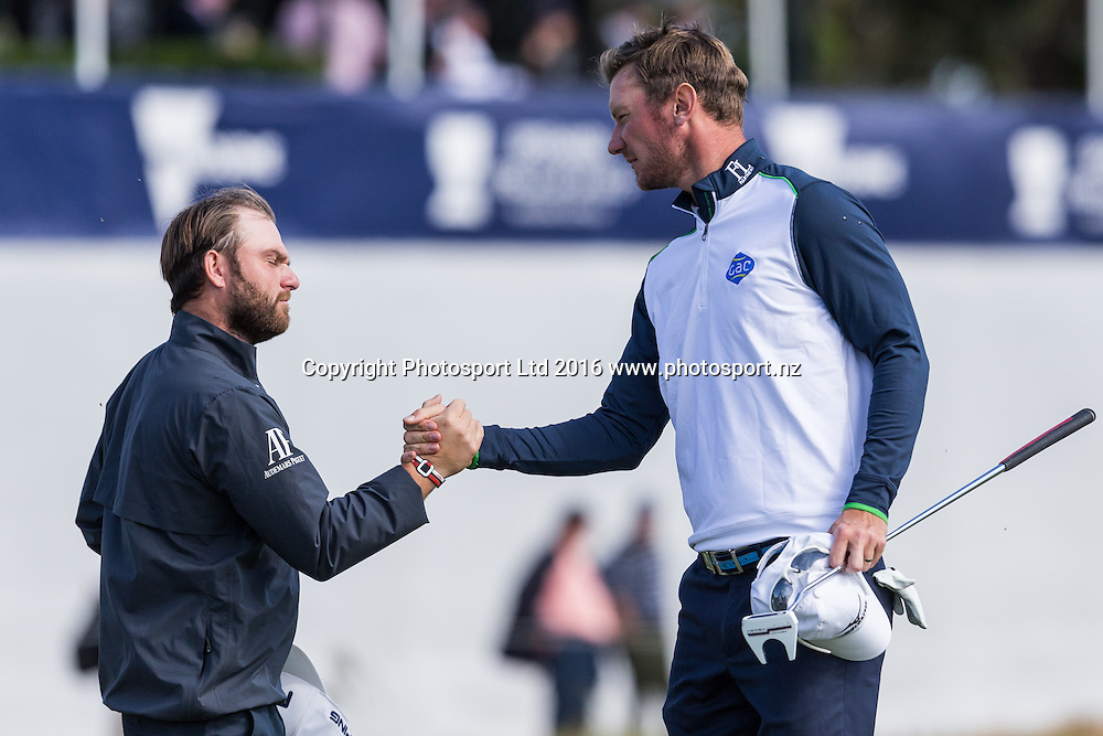 Andy Sullivan (ENG) and Chris Wood (ENG) congratulate each other after their round nduring the round 1 of the World Cup of Golf at Kingston Heath Golf Club, Melbourne Australia. Thursday 24th November 2016. Copyright Photo Brendon Ratnayake / www.photosport.nz
