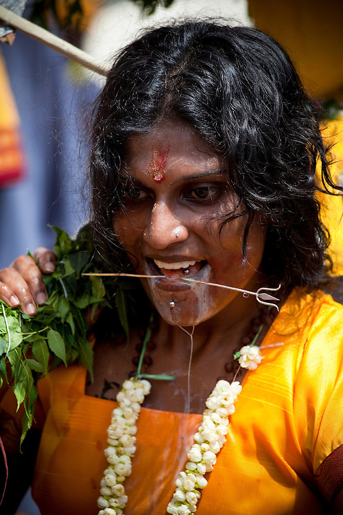 Woman in a trance pierced with a small lance (vel) during Thaipusam Festival, Batu Caves, Malaysia. The vel symbolises meditating by keeping silent. Thaipusam is a Hindu festival celebrated mostly by the Tamil community on the full moon in the Tamil month of Thai (Jan/Feb). The festival celebrates the birth of Murugan,the youngest son of Shiva and his wife Parvati. The festival at Batu Caves, Kuala Lumpur culminates in a 272 step climb into the cave.