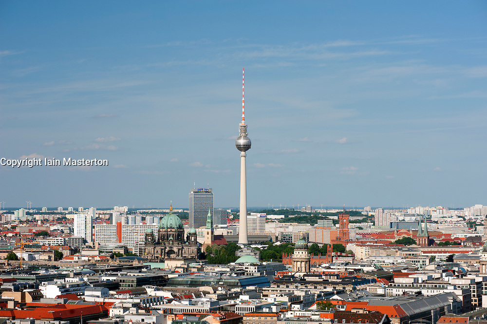 Skyline of Berlin with television tower or Fernsehturm in Mitte