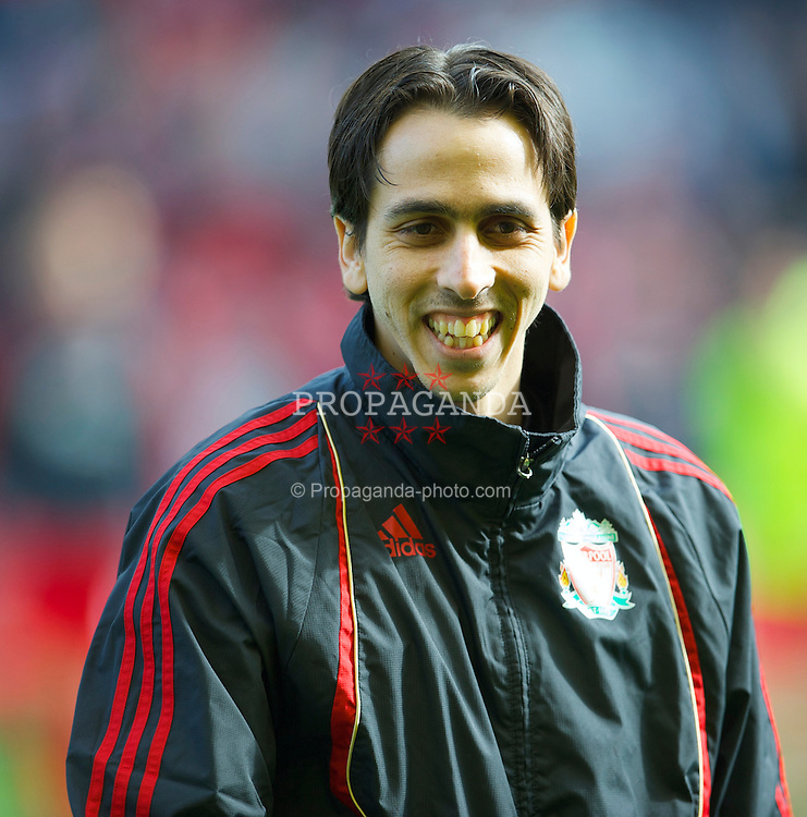 LIVERPOOL, ENGLAND - Sunday, March 28, 2010: Liverpool's Yossi Benayoun warms-up before the Premiership match against Sunderland at Anfield. (Photo by: David Rawcliffe/Propaganda)