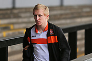 Blackpool FC Mark Cullen (9) arriving at Rodney Parade before the EFL Sky Bet League 2 match between Newport County and Blackpool at Rodney Parade, Newport, Wales on 18 March 2017. Photo by Gary Learmonth.