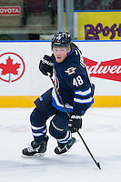 PENTICTON, CANADA - SEPTEMBER 16: Brendan Lemieux #48 of Winnipeg Jets skates against the Calgary Flames on September 16, 2016 at the South Okanagan Event Centre in Penticton, British Columbia, Canada.  (Photo by Marissa Baecker/Shoot the Breeze)  *** Local Caption *** Brendan Lemieux;