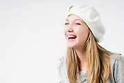 Happy smiling and laughing teen On white Background