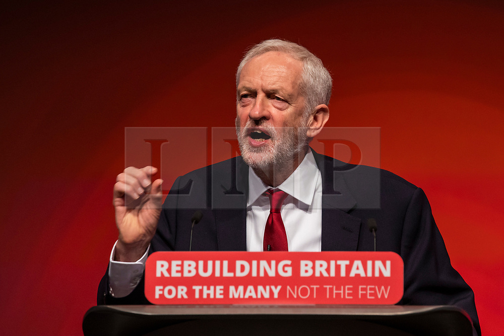 © Licensed to London News Pictures. 26/09/2018. Liverpool, UK. Labour Leader Jeremy Corbyn MP delivers his speech at the end of the Labour Party Conference. Photo credit: Rob Pinney/LNP