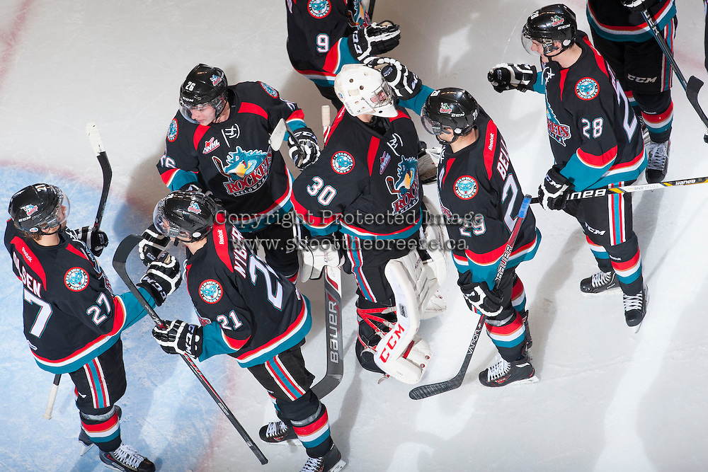 KELOWNA, CANADA - NOVEMBER 9: Jordon Cooke #30 of the Kelowna Rockets celebrates the shut out against the Edmonton OIl Kings with the Kelowna Rockets on November 9, 2013 at Prospera Place in Kelowna, British Columbia, Canada.   (Photo by Marissa Baecker/Shoot the Breeze)  ***  Local Caption  ***