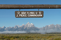 Sign over Cunningham Ranch Grand Teton National Park