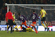 Manchester City's Riyad Mahrez shoots just wide during the EFL Cup semi final second leg match between Burton Albion and Manchester City at the Pirelli Stadium, Burton upon Trent, England on 23 January 2019.