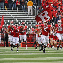 Sep 12, 2009; Piscataway, NJ, USA;  The Rutgers football team takes the field at the start of their 45-7 victory over Howard in NCAA College Football at Rutgers Stadium.