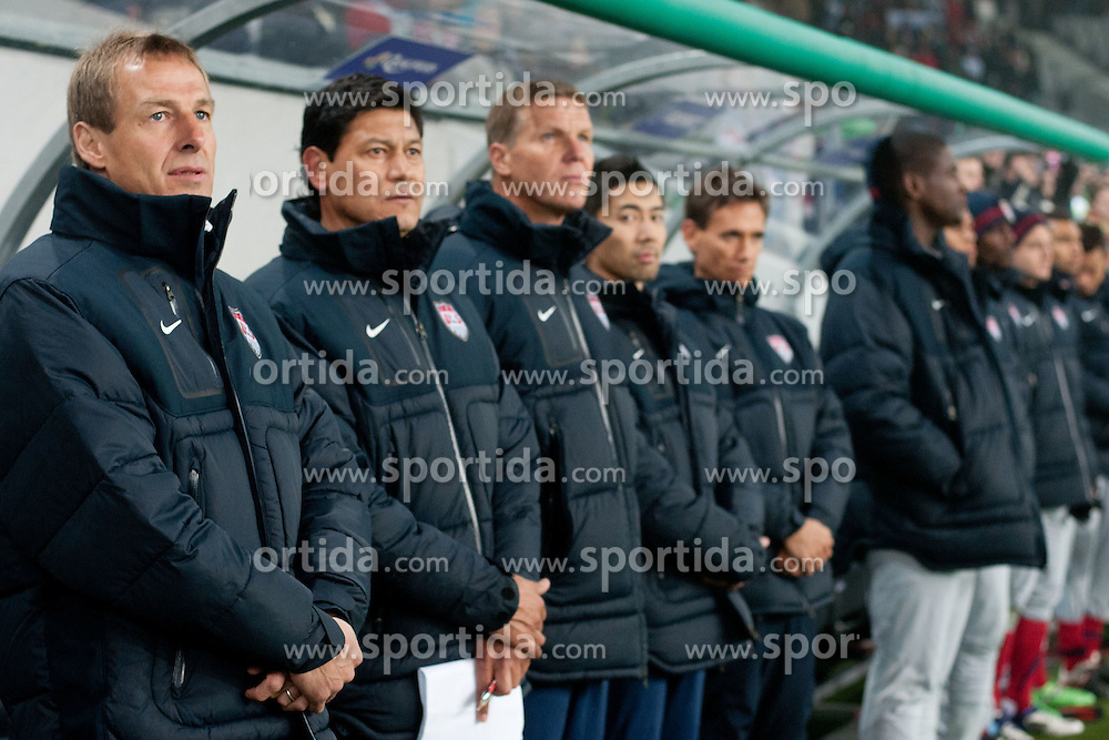 Jurgen Klinsmann, head coach of USA, during friendly football match between National teams of USA and Slovenia, on November 15, 2011 in SRC Stozice, Ljubljana, Slovenia.  (Photo By Matic Klansek Velej / Sportida.com)