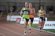 May 17, 2018; Los Angeles, CA, USA; Reid Buchanan defeats George Parsons to win the 5,000m, 13:33.38 to 13:34.16,during the USATF Distance Classic at Occidental College.
