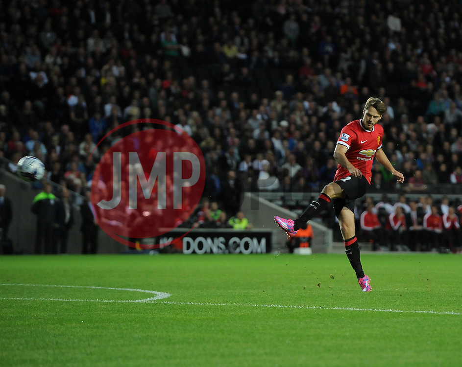 Manchester United's Nick Powell Shoots - Photo mandatory by-line: Joe Meredith/JMP - Mobile: 07966 386802 26/08/2014 - SPORT - FOOTBALL - Milton Keynes - Stadium MK - Milton Keynes Dons v Manchester United - Capital One Cup