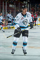 KELOWNA, CANADA - DECEMBER 2: Colton Kroeker #21 of the Kootenay Ice warms up against the Kelowna Rockets on December 2, 2017 at Prospera Place in Kelowna, British Columbia, Canada.  (Photo by Marissa Baecker/Shoot the Breeze)  *** Local Caption ***