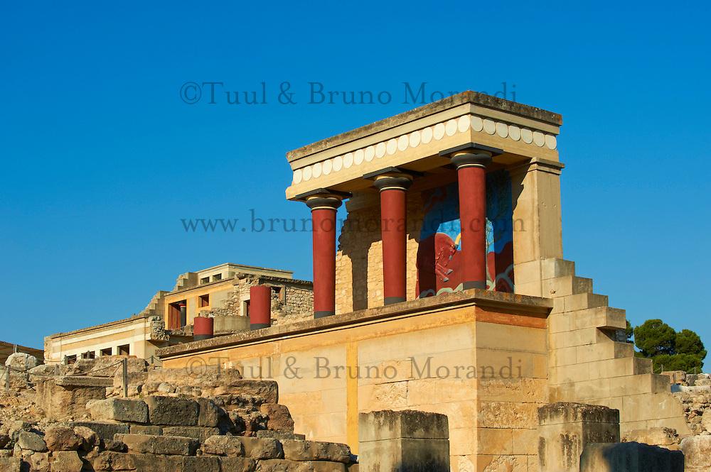 Grèce, Crète, site archéologique minoen de Knossos, palais du Roi Minos // Greece, Crete island, Iraklion, archeological site of Knossos, King Minos palace