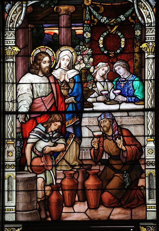 Stained glass window inside Ss. Peter and Paul Church in Kiel, Wis., depicts Jesus and Mary at the wedding feast at Cana. (Sam Lucero photo)