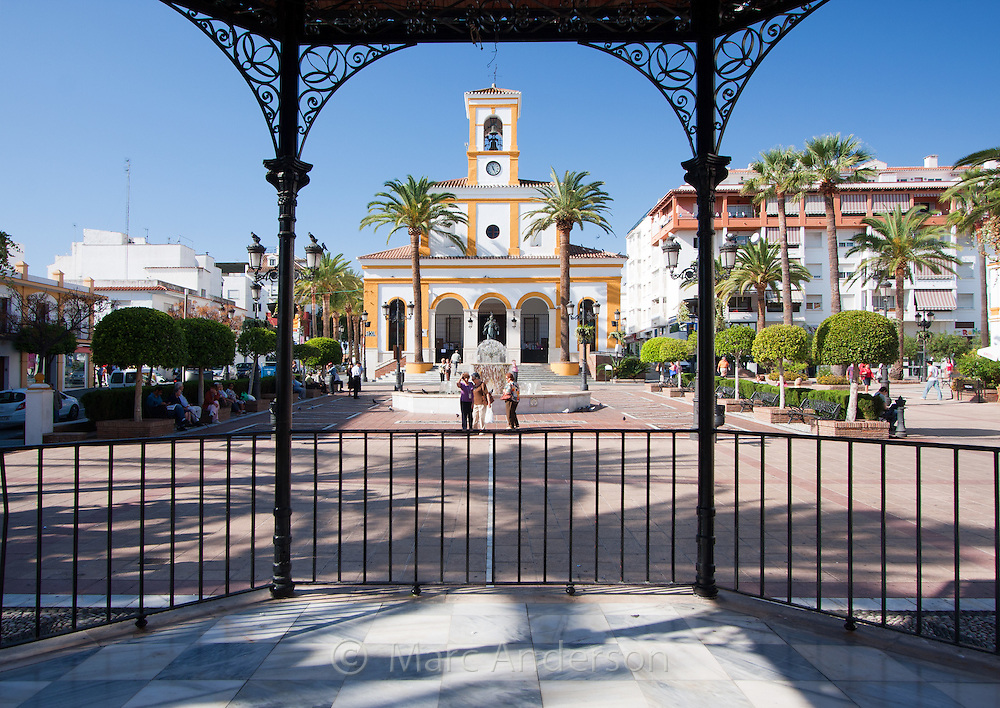 Plaza de Iglesia (Church square) in the town of San Pedro de Alcantara, Andalucia, Spain