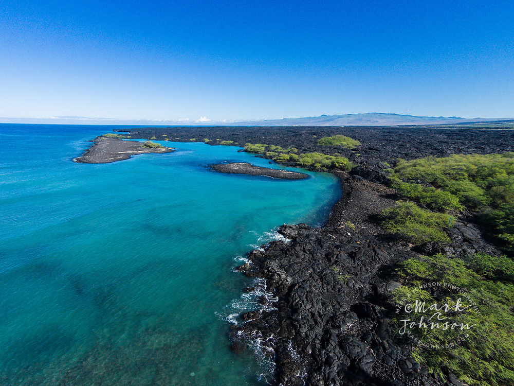 Aerial photograph of Kiholo Bay, Big Island (Hawaii Island), Hawaii