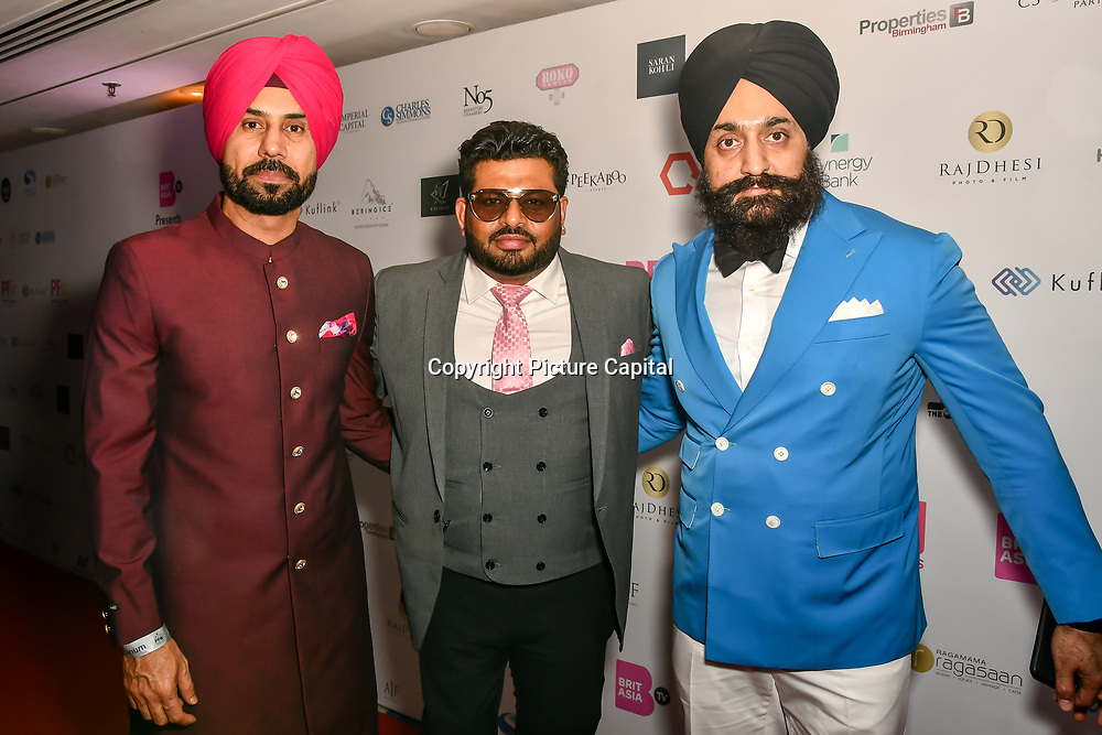 Binnu Dhillon, guest, Peter Singh Virdee and guest attend the BritAsiaTV Presents Kuflink Punjabi Film Awards 2019 at Grosvenor House, Park Lane, London,United Kingdom. 30 March 2019