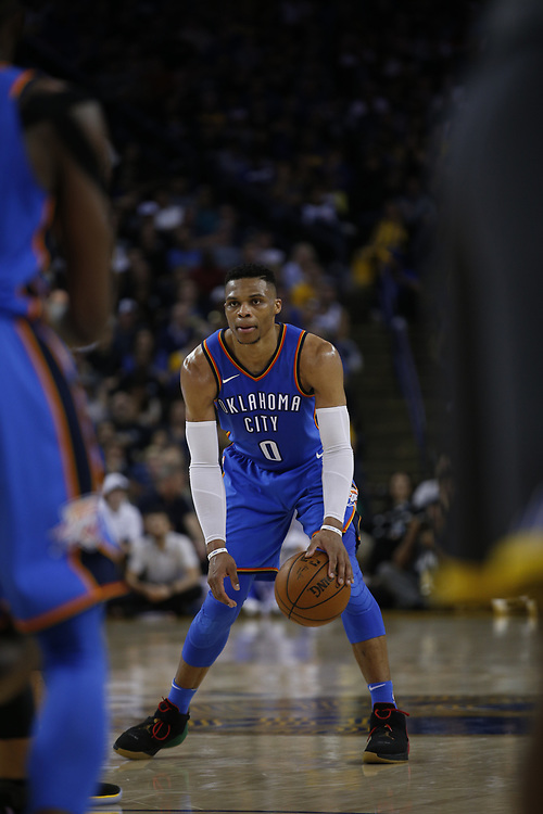 Oklahoma City Thunder guard Russell Westbrook (0) during the second half of an NBA game between the Warriors and Oklahoma City Thunder at Oracle Arena, Tuesday, Feb. 6, 2018, in Oakland, Calif. The Warriors lost 105-125.