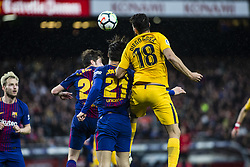 March 4, 2018 - Barcelona, Catalonia, Spain - 18 Costa from Spanish-Brazil of Atletico de Madrid defended by 21 Andre Gomes from Portugal of FC Barcelona and 20 Sergi Roberto from Spain of FC Barcelona during La Liga match between FC Barcelona v Atletico de Madrid at Camp Nou Stadium in Barcelona on 04 of March, 2018. (Credit Image: © Xavier Bonilla/NurPhoto via ZUMA Press)